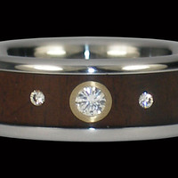 Triple Diamond Titanium Wood Inlay Ring – Hawaii Titanium Rings