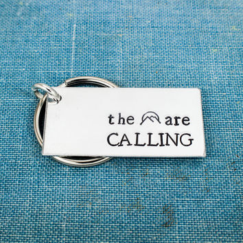 The Mountains Are Calling - Outdoors - Nature - Travel - Adventure - Hiking - Aluminum Key Chain