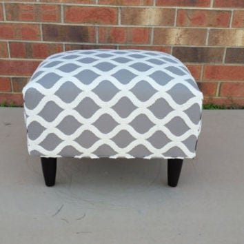 Mid Century Modern Ottoman with Gray Geometric Chain Pattern & Best Mid Century Ottomans Products on Wanelo islam-shia.org