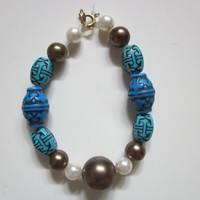 Turquoise and Pearl Bracelet by ria13 on Etsy