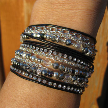 Boho - CHROME - Endless Leather Wrap Bracelet - Black Leather