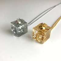 Silver Leaf Cube Necklace, clear resin square pendant flake gift for her Mother's Day Anniversary girlfriend wife