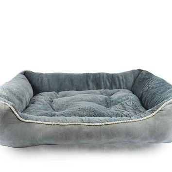 Large Cozy Suede Pet Bed with Rope Cording Trim 4 Colors