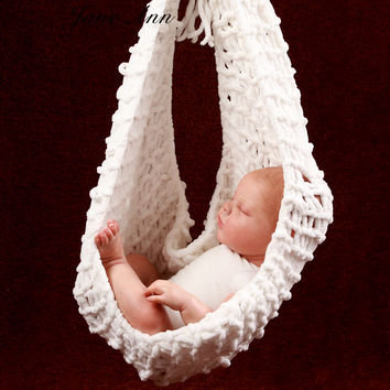 Crochet Baby white Hammock Photography Props Knitted Newborn Infant Costume Toddler Photo Props fotografia accessories