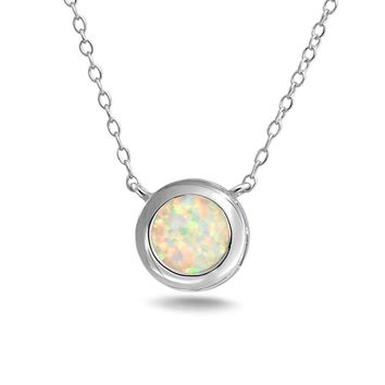 1CT Solitaire Bezel Created Opal Pendant Necklace Sterling Silver
