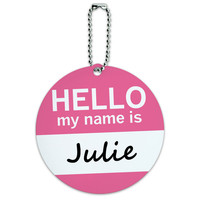 Julie Hello My Name Is Round ID Card Luggage Tag
