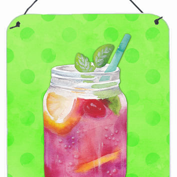 Mason Jar Cocktail Green Polkadot Wall or Door Hanging Prints BB8250DS1216