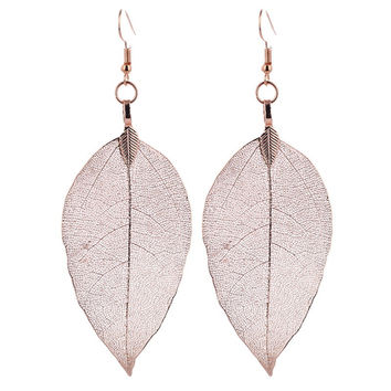 Bohemain Long Earrings Unique Natural Real Leaf Big Earrings For Women Fine Jewelry Gift