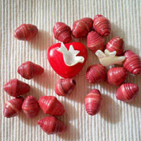 pink paper bead collection  doves and heart by eclecticnesting