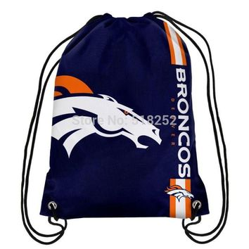 Denver Broncos Drawstring Backpack Customize Bags 35x45cm Sports Team,free shipping