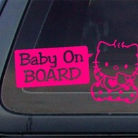 CUTE Baby on Board Decal / Sticker - HOT Pink