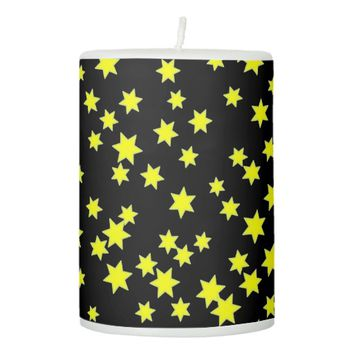 Yellow Stars Pillar Candle