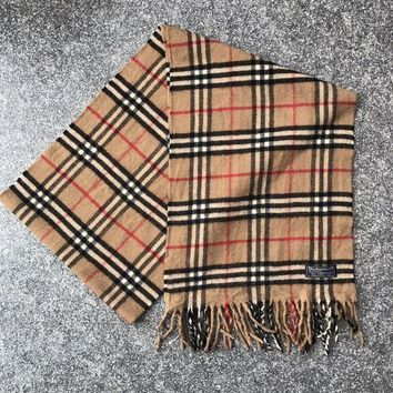 PEAPON Vintage BURBERRY Scarf Lambswool Wool Beige Nova Check - (DP100)
