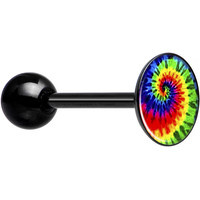 Rainbow Tie Dye Black Anodized Barbell Tongue Ring