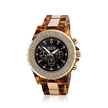 Bling Jewelry Simulated Tortoise Shell Rose Gold Plated Boyfriend Link Watch
