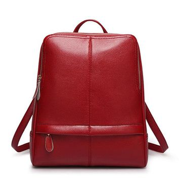 2017 New Women Preppy Concise Style Pebbled Faux Leather Zippered Round Backpack