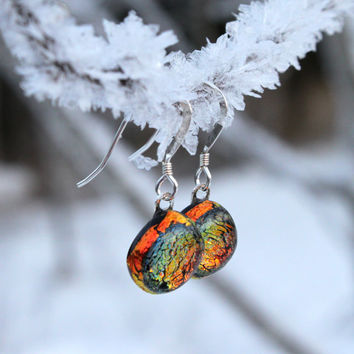 Small Orange Golden Sparkling Dichroic Glass Earrings, Sterling Silver, Dangle Earrings, Fused Jewelry, Handmade, Glass Jewelry,