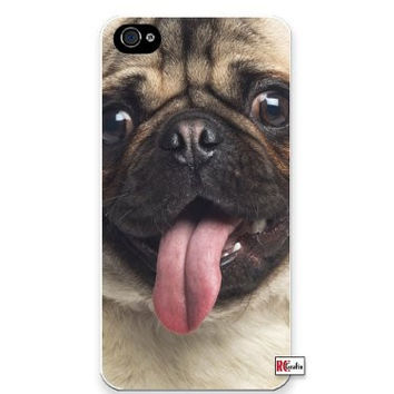Happy Pug Dog Panting Tongue Apple iPhone 5C Quality Hard Snap On Case for iPhone 5c/5C - AT&T Sprint Verizon - White Case