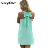 Loneyshow  Spring Summer   Casual Chiffon Dress Solid Colors With Bow Beach Mini Dress 7 color