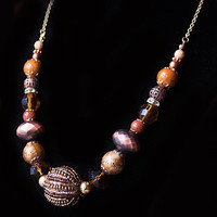 Handmade Brown Necklace Brown Copper Beaded Necklace Brown Chunky Necklace Brown Statement Mixed Metal Necklace Brown Copper Necklace