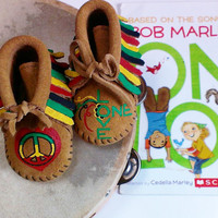Custom Painted One Love Bob Marley Rasta Peace Reggae Baby Moccasins