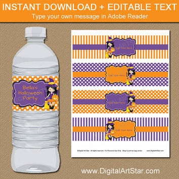 Printable Halloween Water Bottle Labels - Cute Halloween Decor - Girl Halloween Bottle Labels - Halloween Party Decor Witch Decorations WDS