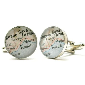 Ravello Amalfi Coast Vintage Map Cufflinks