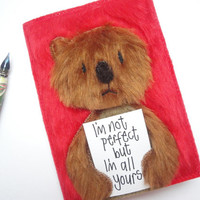 Bear Valentine card / Cute Valentines card / Red Valentines card