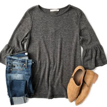 Charcoal Bell Sleeve Button Back Top