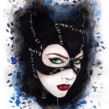 Catwoman Art Print - Watercolor Batman Fan Art