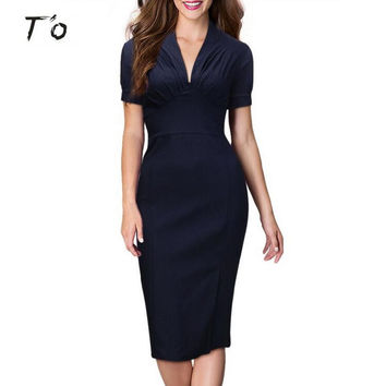 T'O Summer Elegant Sexy Ruched V Neck Short Sleeve Dark Blue Slim Tunic High Waist Work Party Business Bodycon Pencil Dress 235