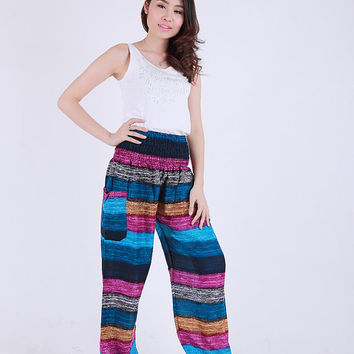 Mix candy pink blue  Elephant pants /Hippies pants /Boho pants one size fits harem pant