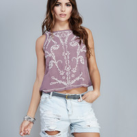 Boho Embroidered Open-Back Tank | Wet Seal