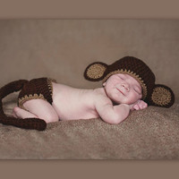 the most adorable little Monkey Baby Diaper Cover and Baby Hat Baby Shower With Ears and Tail