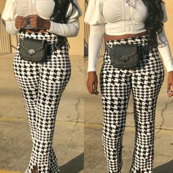 New White-Black Plaid Pattern High Waisted Slit Bell Bottom Flare Vintage Long Pants