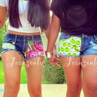 BFF shorts,low rise denim shorts,apple and watermelon print shorts by Jeansonly