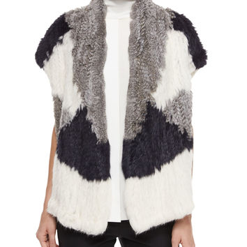 Colorblock Rabbit Fur Vest, Size: