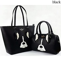 Kate Spade Women's Exquisite Trendy Printed Leather Tote Shoulder Bag Two-Piece Set F-LLBPFSH Black