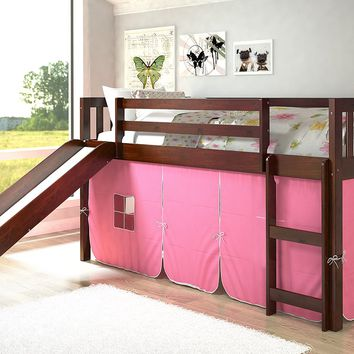 Chloe Low Loft with Slide & Pink Tent