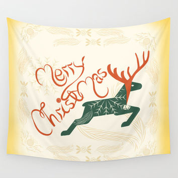 Tapestry, wall tapestry, Christmas decor, Cute tapestry, Reindeer tapestry, merry christmas, wall hanging, wall art