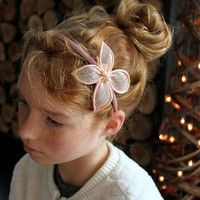 Butterfly Headband for toddlers, Pink Peach Butterfly, Girls Hair Accessories, Special Occasion, Party Outfit, Christmas outfit