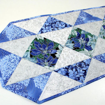 Quilted Christmas Table Runner - Blue, Silver and White Poinsettias Christmas Triangles, Christmas Quilt, Quiltsy Handmade Patchwork Runner