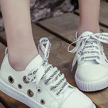 White Round Toe Flat Cut Out Letter Shoelaces Casual Shoes
