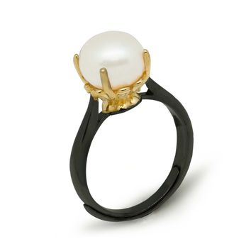 Simple Yellow Black  925 Sterling Silver Natural White Pearl Adjustable Ring