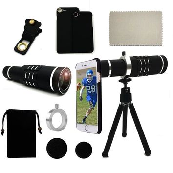 Camera 18x magnifier Telescope Lens+Phone Holder+Case+Bag+Cleaning Cloth+Photo Tripod For Samsung S8 Plus/For Iphone 7 8 Plus