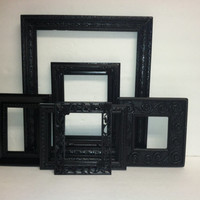 Black Shabby Chic Paris Chic Primitive Picture Frame Set Upcycled Picture Frame Set Gallery Wall