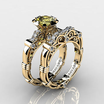Art Masters Caravaggio 14K Yellow Gold 1.0 Ct Yellow Topaz Diamond Engagement Ring Wedding Band Set R623S-14KYGDYT
