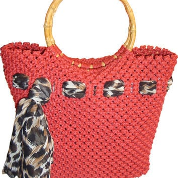 Sale,discount , handbag,macrame,handmade red Bag