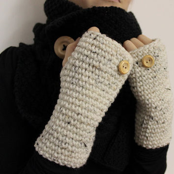 Wool Texting Gloves, White Wrist Warmers, Fingerless Gloves, Tweed Wool Mittens, Chunky Texting Mitts, White Open Gloves, Wool Wrist Warmers
