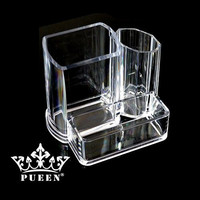 PUEEN Acrylic Makeup Brush and Cosmetic Holder Organizer with 3 Compartments